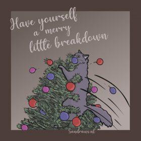 kerstkaart merry little breakdown